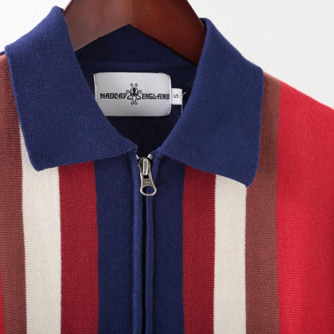 Madcap England メンズ ポロシャツ ポロ ストライプ ジップスルー 19SS  マッドキャップ ブルー プレゼント ギフト