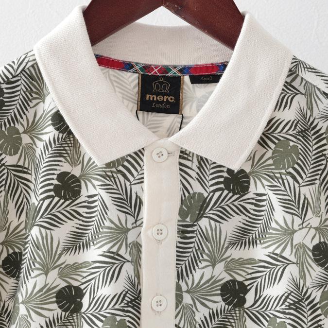 ポロシャツ ボタニカルプリント プレミアム オフホワイト メンズ Merc London メルクロンドン