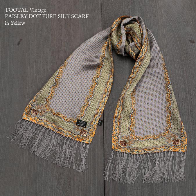 Tootal Vintage トゥータル ヴィンテージ ペイズリー ドット シルク スカーフ イエロー グレー