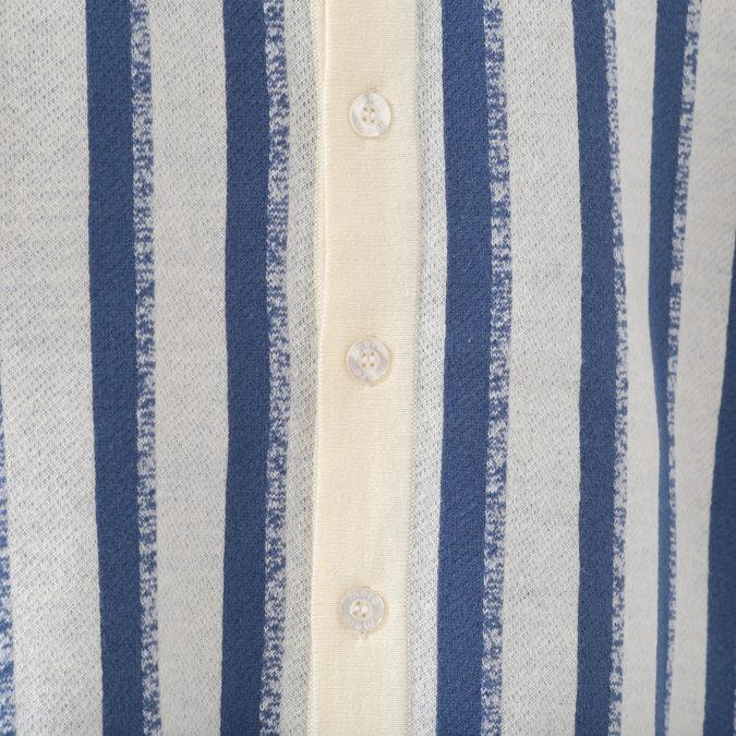 ポロシャツ バーティカルストライプ 2色 ニット ネイビー クリーム メンズ Merc London メルクロンドン