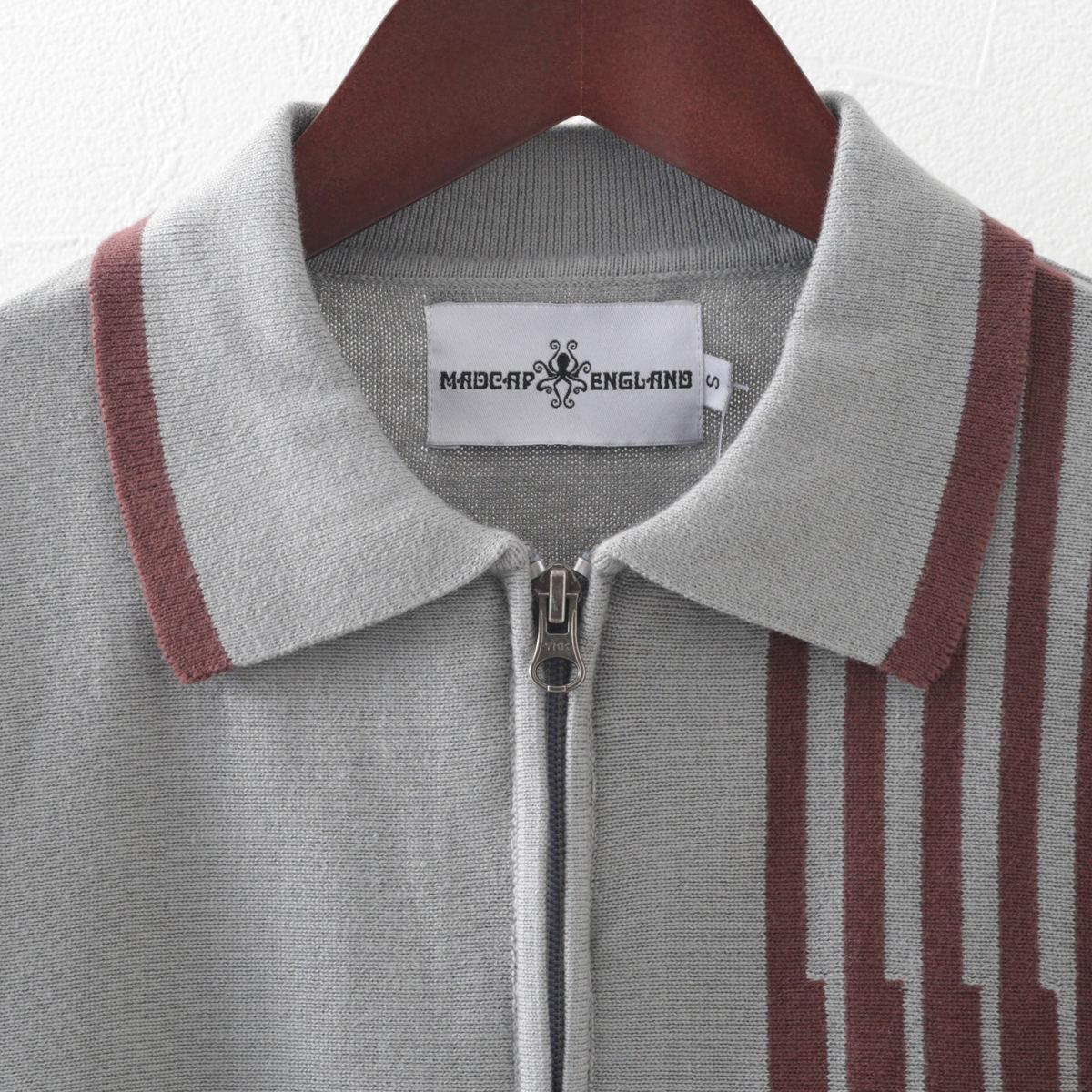 マッドキャップ メンズ ポロシャツ ジップスルー ニット ポロ ストライプ グレー Madcap England