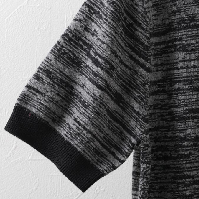 ポロシャツ ニット スペースダイ プレミアム ブラック メンズ Merc London メルクロンドン