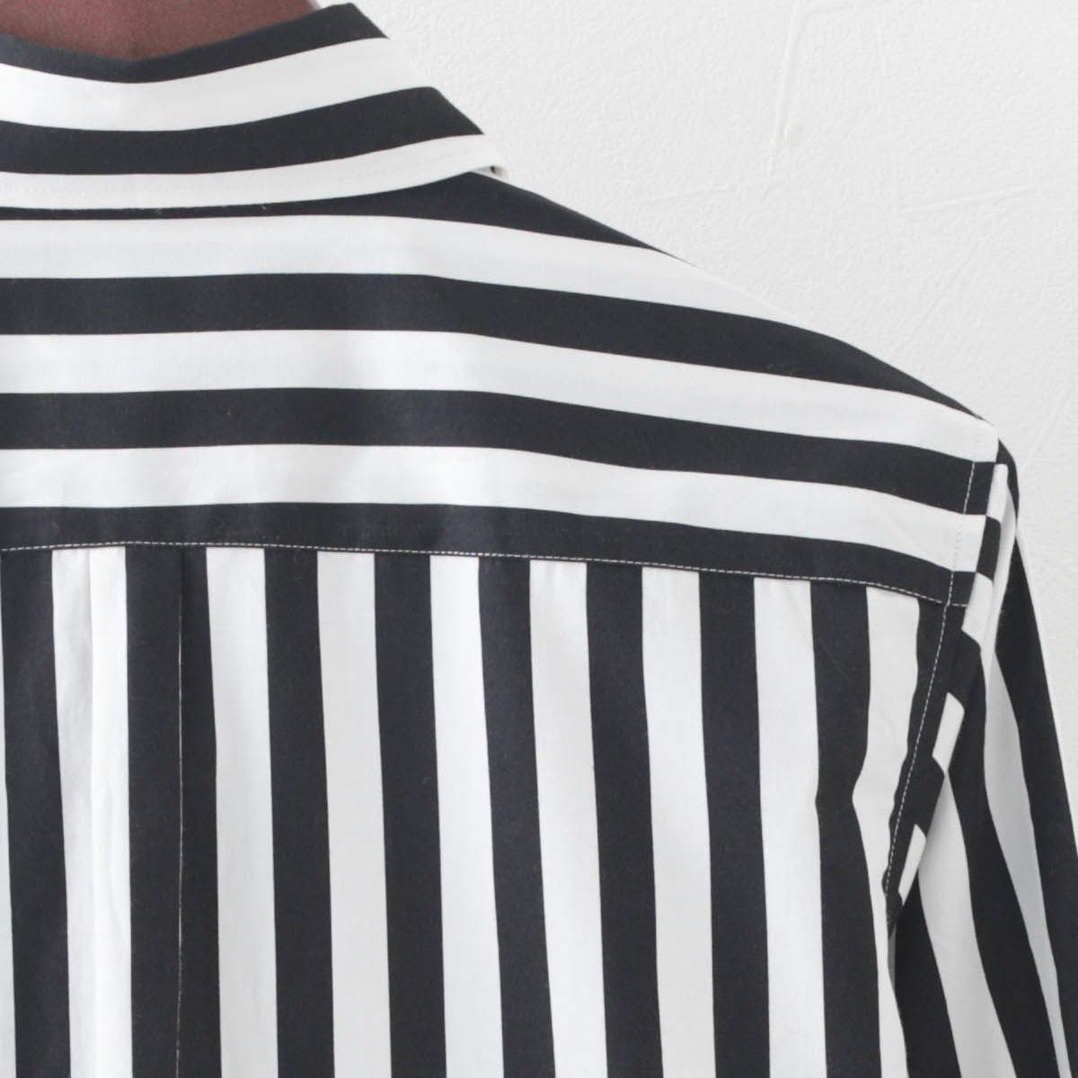 英国老舗ブランド 日本縫製 メンズ 長袖シャツ ストライププリント ブラック ホワイト コットン カジュアル ピーターイングランド