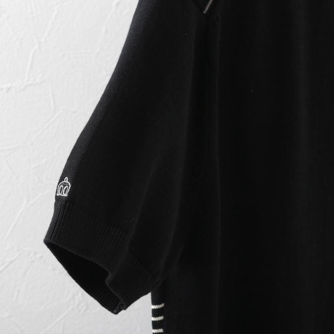 ポロシャツ ニット ストライプ プレミアム ブラック メンズ Merc London メルクロンドン