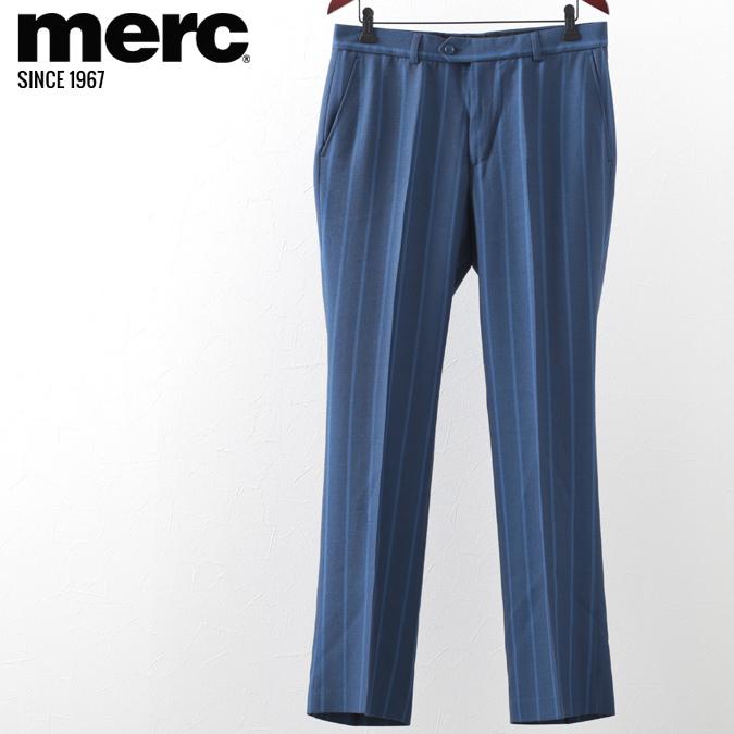 メルクロンドン メンズ スラックス トラウザー Merc London ストライプ ネイビー