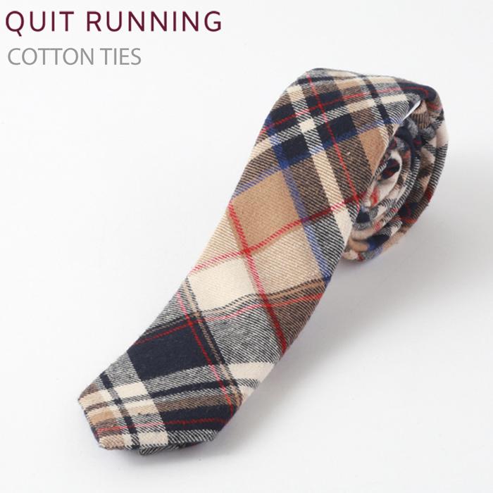コットンネクタイ Quit Running キャメル タータン チェック ネクタイ ハンドメイド クイトランニング メンズ コットン