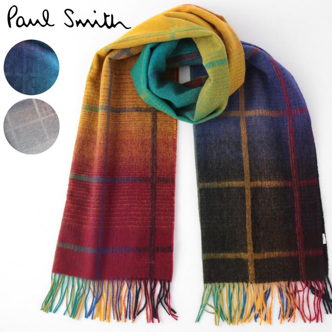 PAUL SMITH マフラー ポールスミス スカーフ ラムズウール グラデーション 大判ストール チェック 190×52cm 3色 ネイビー グレー マルチ