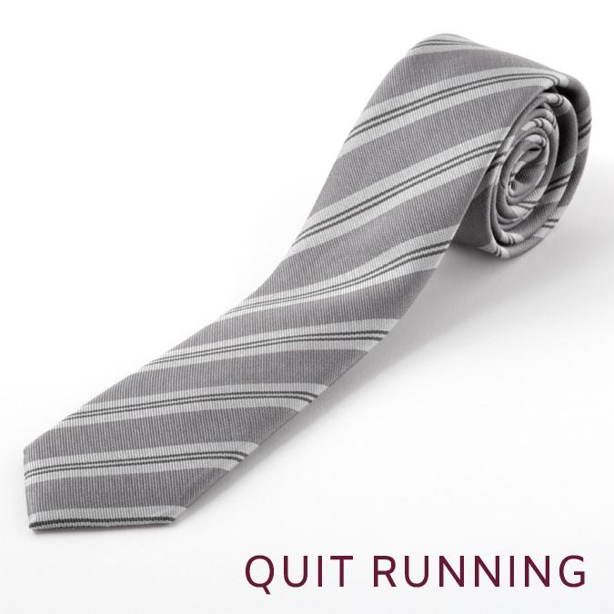ピュアシルク100% 英国ブランド Quit Running シルク ナロー ネクタイ シルバー ストライプ 男性 クイトランニング スリムネクタイ