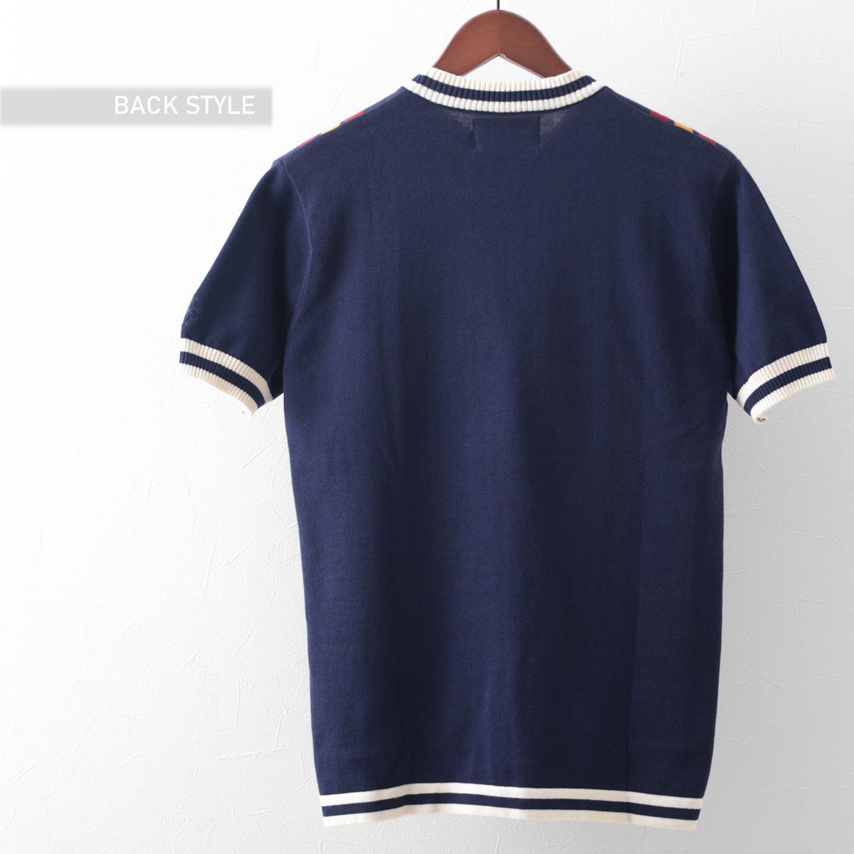 70年代風モッズファッション ニットTシャツ 半袖ニット レトロ ストライプ 2色 ネイビー ブラウン Madcap England マッドキャップ