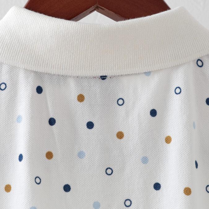 ポロシャツ ドットプリント プレミアム 2色 オフホワイト スティールブルー メンズ Merc London メルクロンドン