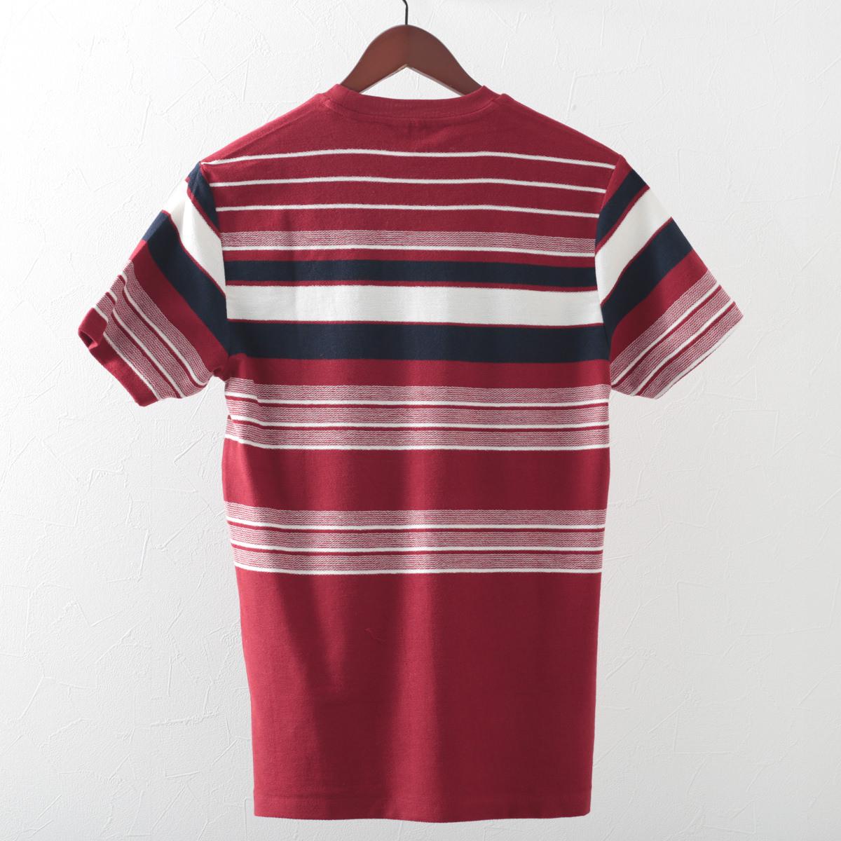 Tシャツ リバース ニット ストライプ スノーホワイト レッド レギュラーフィット Ben Sherman ベンシャーマン