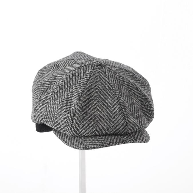 Laird Hatters メンズ キャスケット 英国製 ハンチング ウール ツイード ハンチング帽 レアードハッター Brooklyn Caps Herringbone ブルックリン 帽子 イギリス製 グレーブラック レディース モッズファッション 紳士
