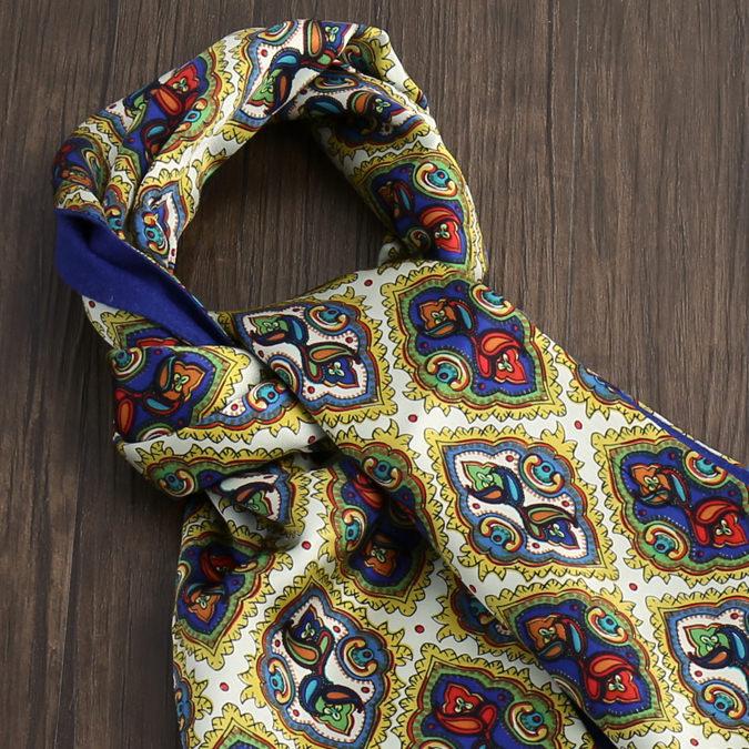 Tootal Vintage トゥータル ヴィンテージ シルクスカーフ ブラッシュド 裏起毛 ジオ ペイズリー ゴールド