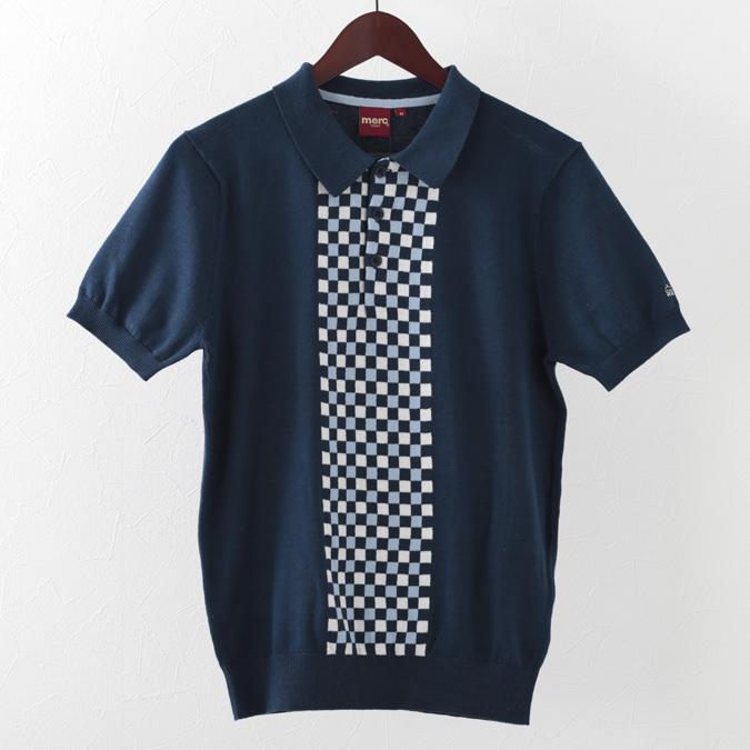ポロシャツ チェックパネル ニット 2色 ネイビー マールチャコール メンズ Merc London メルクロンドン