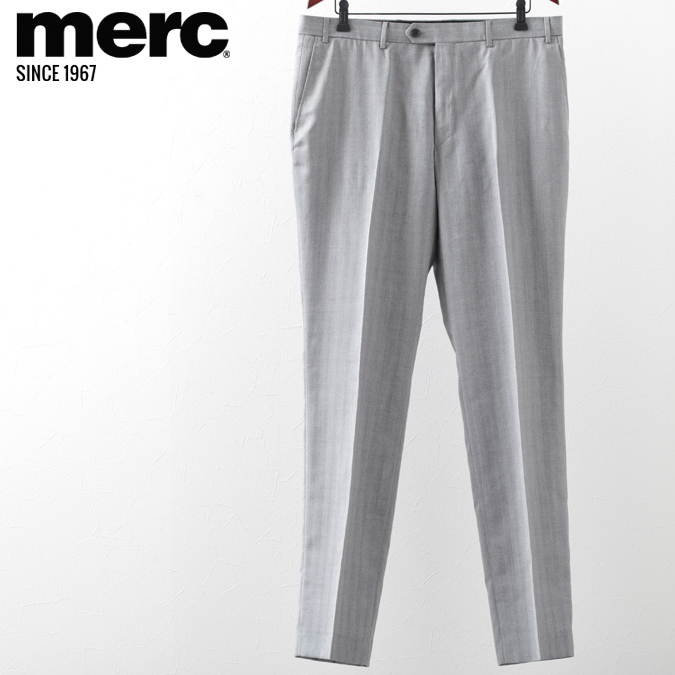 メルクロンドン メンズ トラウザー スラックス ヘリンボーン Merc London ビジネス フォーマル グレー