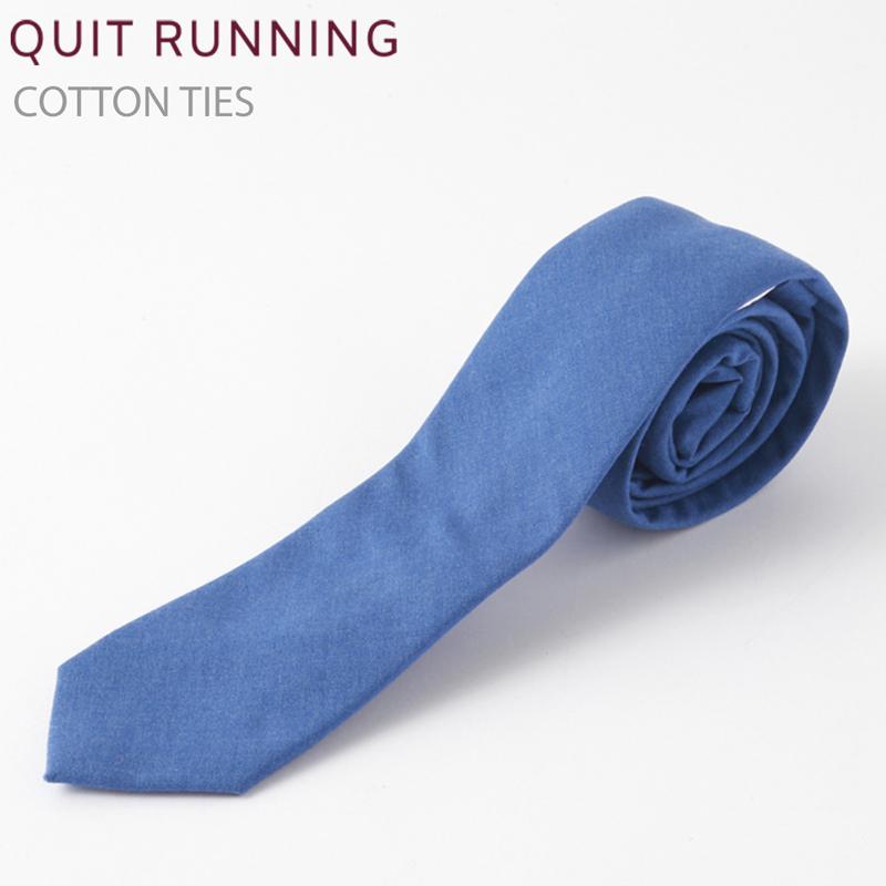 コットンネクタイ Quit Running ブルー ネクタイ ハンドメイド クイトランニング メンズ コットン