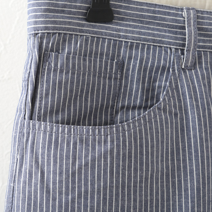 ルクロンドン メンズ ストライプ 短パン ショートパンツ Merc London ハーフパンツ ネイビー
