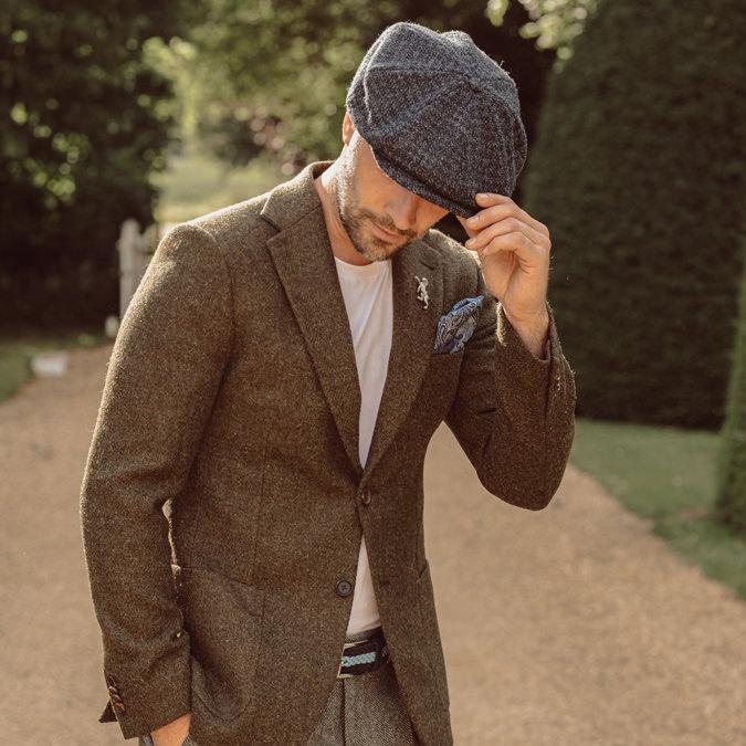 Laird Hatters メンズ キャスケット 英国製 ハンチング ウール ツイード ハンチング帽 レアードハッター Brooklyn Caps Herringbone ブルックリン 帽子 イギリス製 ネイビーグレー レディース モッズファッション 紳士