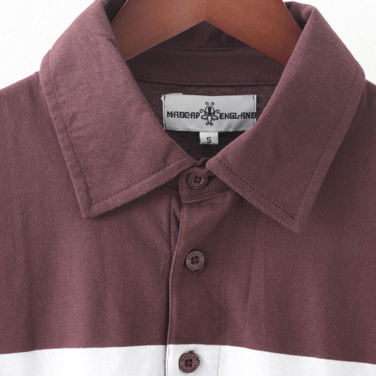 70年代風モッズファッション ポロシャツ 半袖カーディガン ジップスルー ストライプ コットン Madcap England マッドキャップ