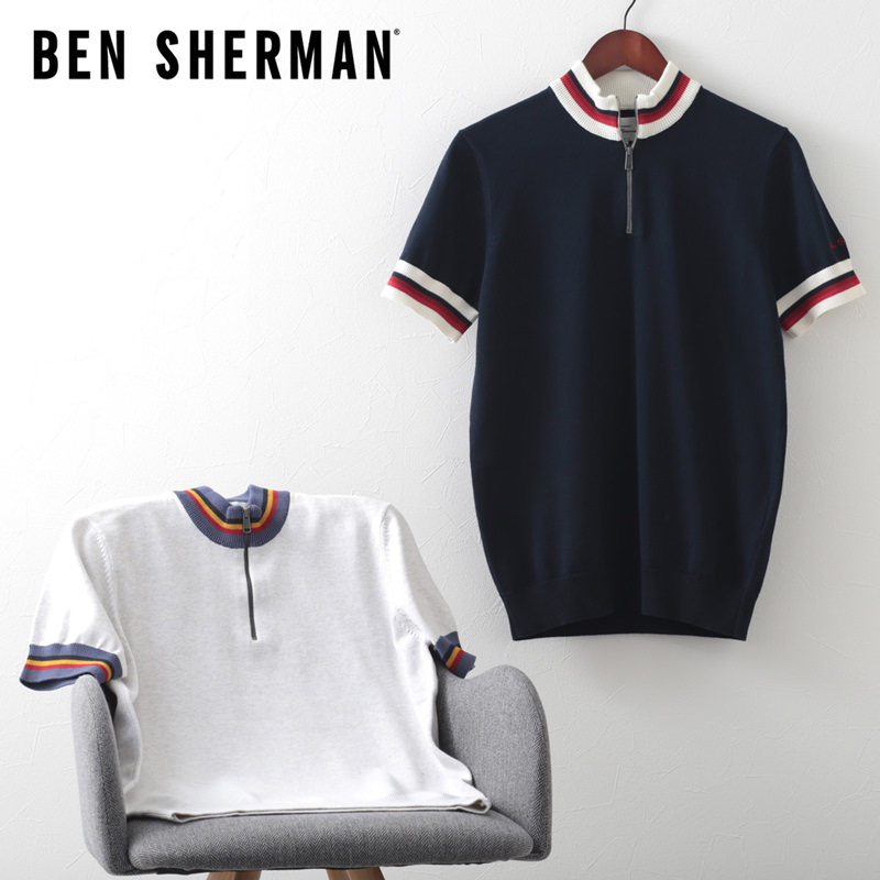 ジップ ニット サークル トップ 2色 ダークネイビー スノーホワイト レギュラーフィット Ben Sherman ベンシャーマン