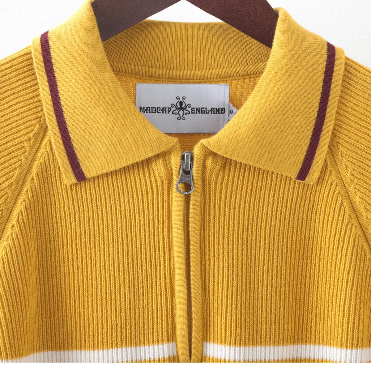 Madcap England マッドキャップ メンズ ポロシャツ 半袖カーディガン ジップスルー ストライプ コットン