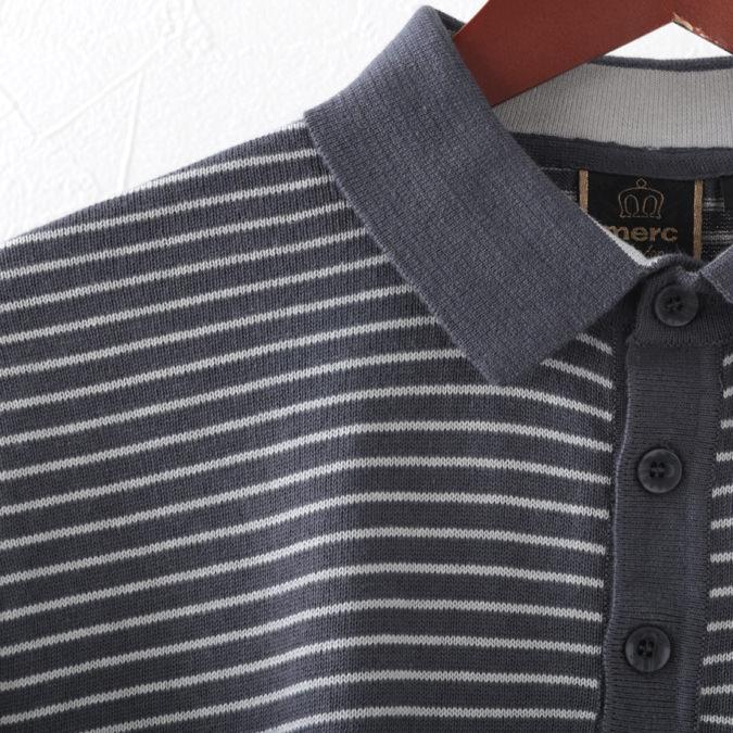 ポロシャツ ショルダーストライプ ニット プレミアム 2色 チャコール ヴィンテージホワイト メンズ Merc London メルクロンドン