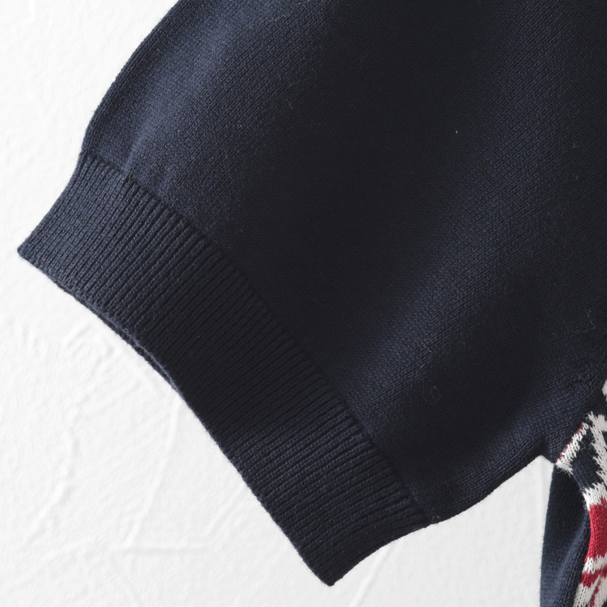 ベンシャーマン メンズ ポロシャツ ポロ キュービック ジャカードフロント Ben Sherman ダークネイビー レギュラー フィット