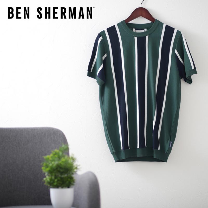 クルーネック ニット バーティカル ストライプ トレッキンググリーン レギュラーフィット Ben Sherman ベンシャーマン