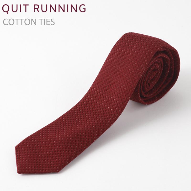 英国ブランドQuit Running コットンネクタイ バーガンディ ネクタイ ハンドメイド クイトランニング メンズ コットン