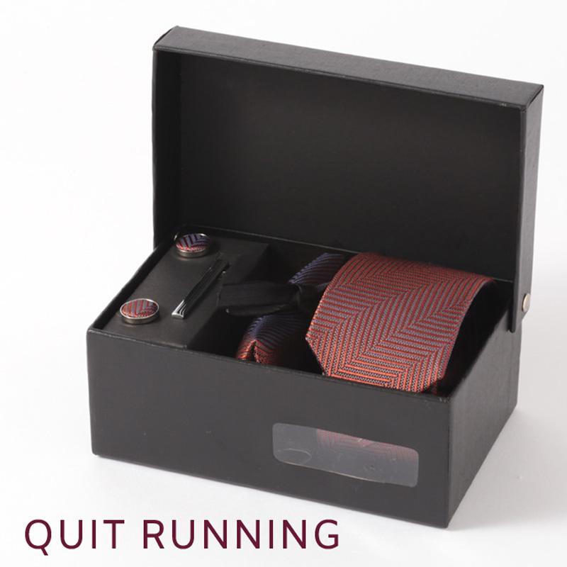 英国ブランドメンズギフト4点フルセット Quit Running ヘリンボーン ブラウン ネクタイ ポケットチーフ タイクリップ カフス クイトランニング
