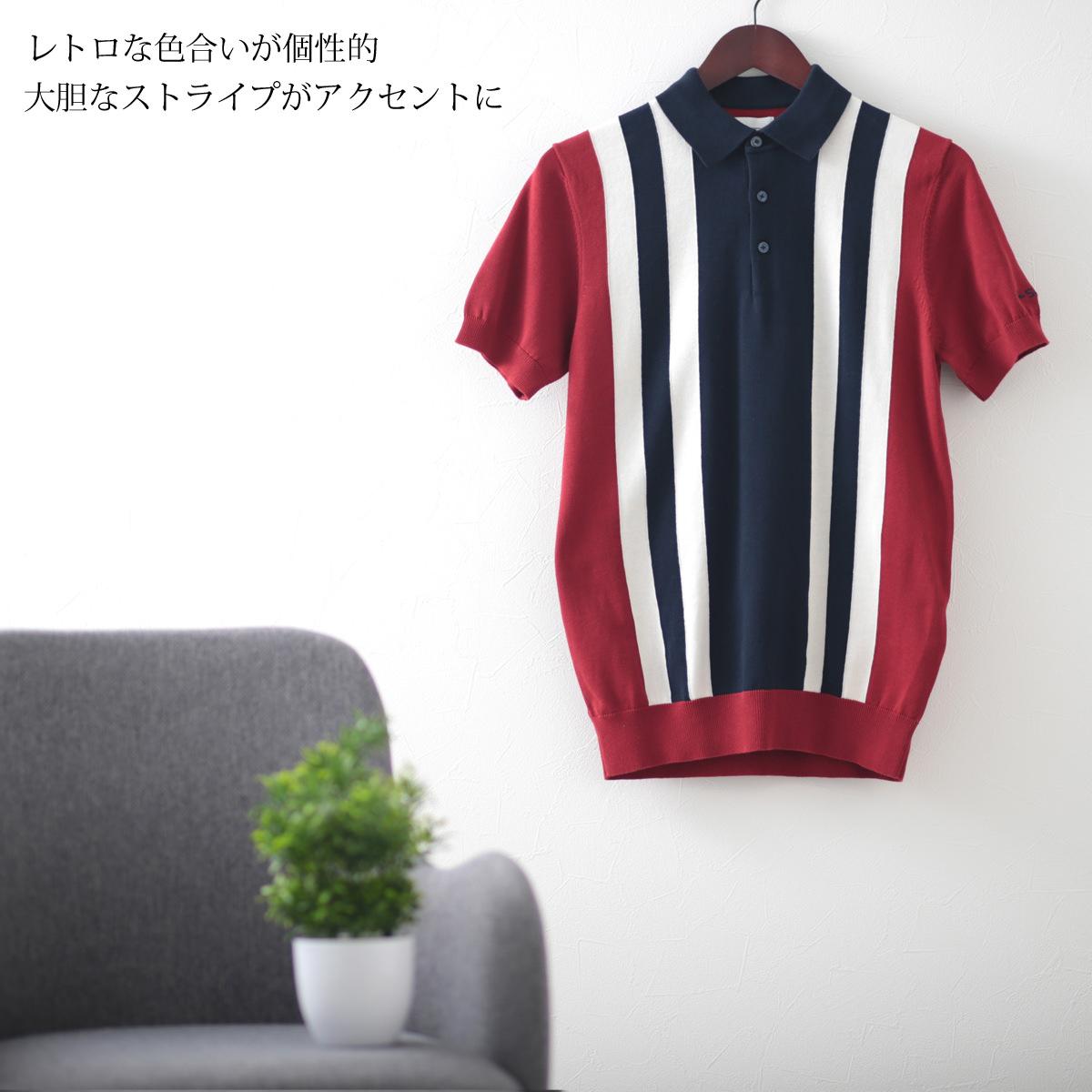 ベンシャーマン メンズ ポロシャツ ニット ポロ カラー ブロック Ben Sherman レッド ネイビー レギュラー フィット