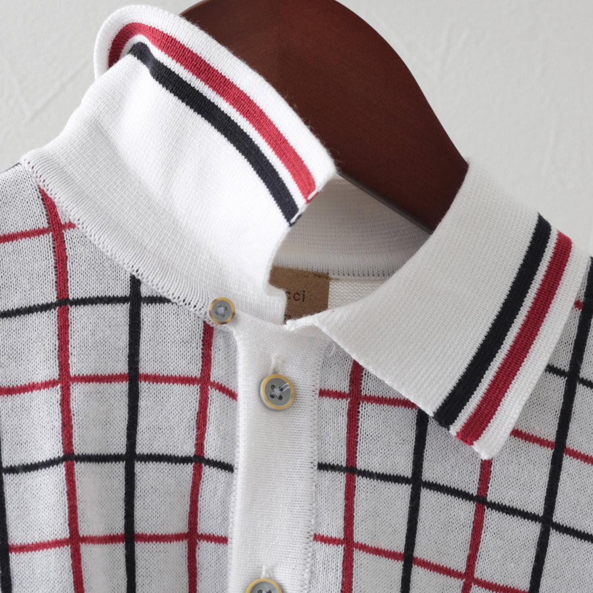 Gabicci メンズ ポロシャツ ポロ チェック ガビッチ ホワイト レトロ モッズファッション