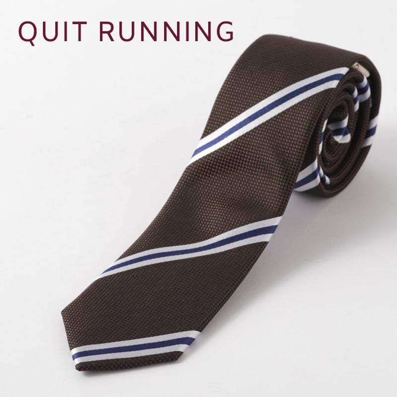 英国ブランドQuit Running シルクネクタイ ブラウン ストライプ シルク ネクタイ ハンドメイド クイトランニング