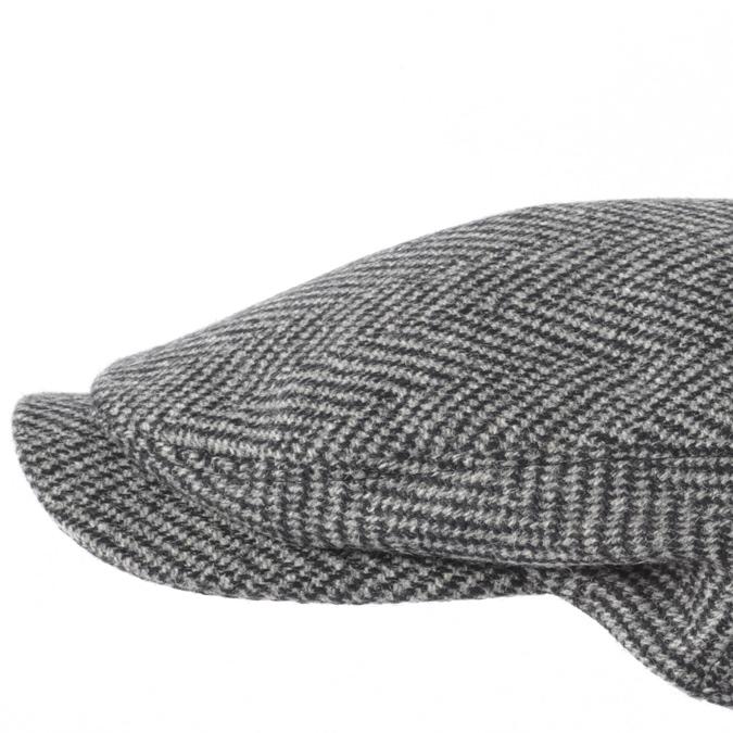 Laird Hatters メンズ キャスケット 英国製 ハンチング ウール ツイード ハンチング帽 レアードハッター Sicilian Caps Herringbone ヘリンボーン ツイード 帽子 イギリス製 グレーブラック レディース モッズファッション 紳士