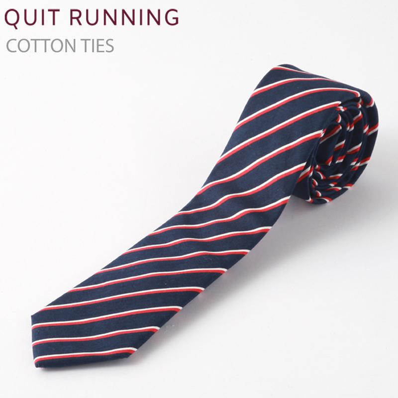 コットンネクタイ Quit Running ネイビー レッド ストライプ ネクタイ ハンドメイド クイトランニング メンズ コットン