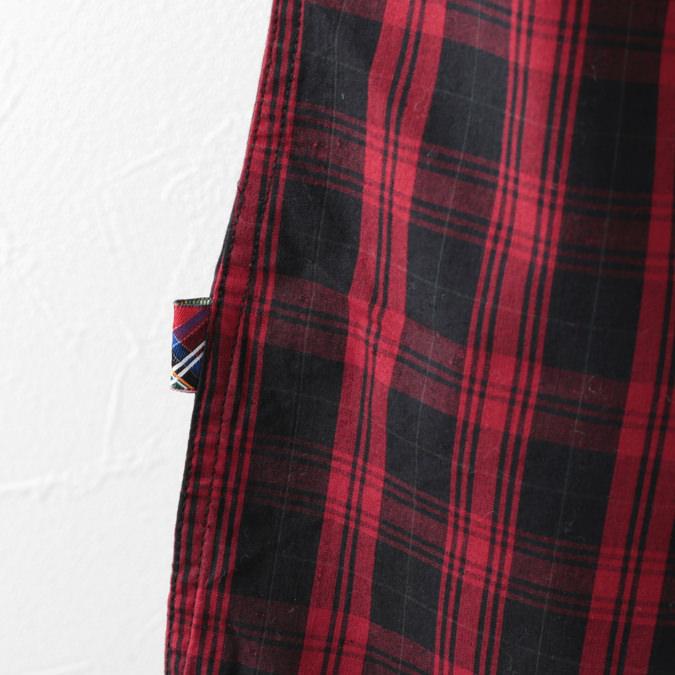 メルクロンドン メンズ チェックシャツ Merc London 長袖シャツ ポケット W1 プレミアム 19SS ブラックレッド