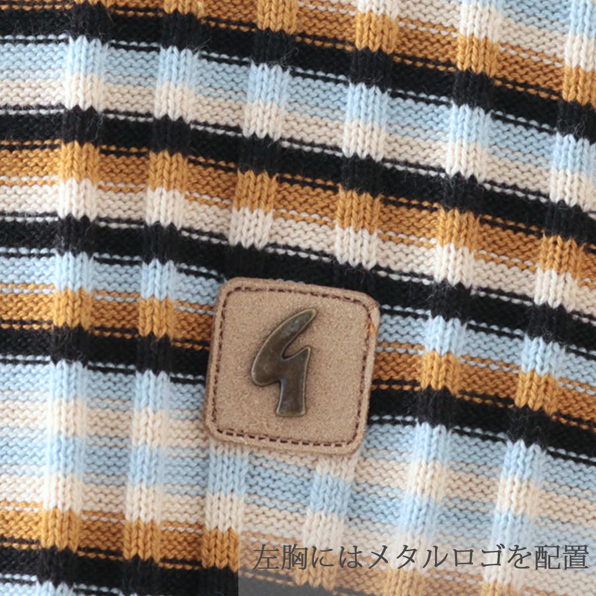 Gabicci メンズ ポロシャツ ポロ ストライプ ニット ガビッチ 2色 ヘイ ネイビー レトロ モッズファッション