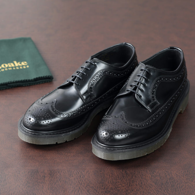 Loake England メンズ レザーシューズ ロークイングランド 革靴 624 ウイングチップ メダリオン EX 2E ブラック ヒートシールドソール クリアソール