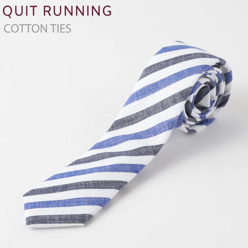 コットンネクタイ Quit Running ホワイト ブルー ストライプ ネクタイ ハンドメイド クイトランニング メンズ コットン