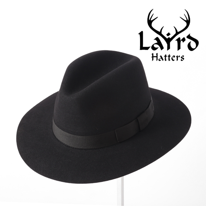 Laird Hatters メンズ フェドラハット ラビットウール 英国製 ウールハット フェルトハット レアードハッター 折り畳み可能 Crushable Fedora 帽子 イギリス製 ブラック レディース モッズファッション 紳士