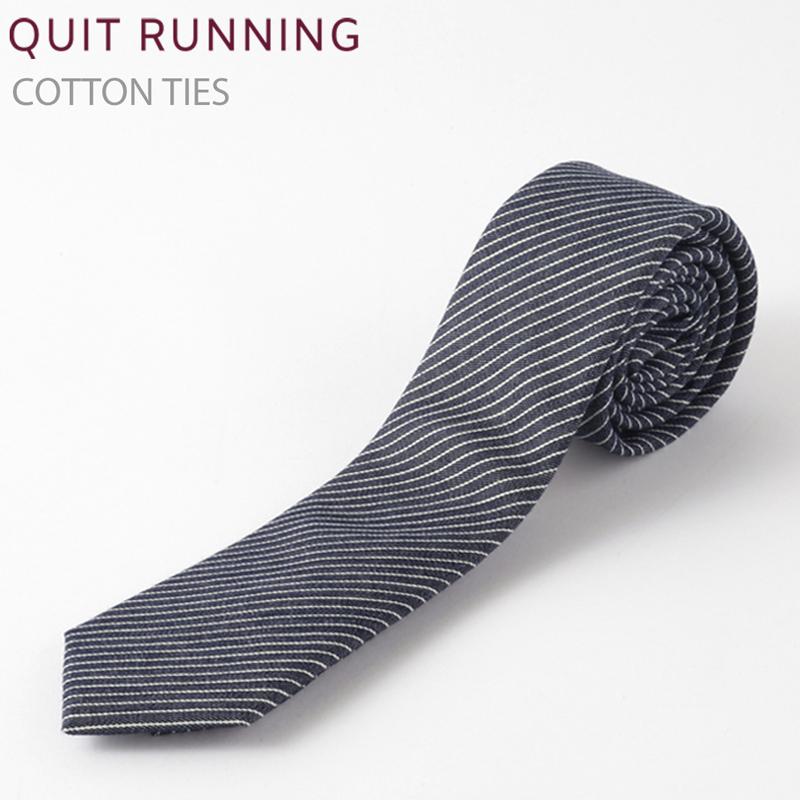 コットンネクタイ Quit Running デニム ストライプ ネクタイ ハンドメイド クイトランニング メンズ コットン