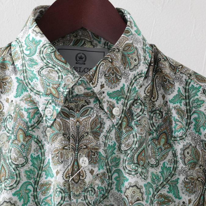RELCO メンズ 長袖シャツ 花柄シャツ ペイズリー フラワー レルコ レトロ グリーン プラチナコレクション モッズファッション