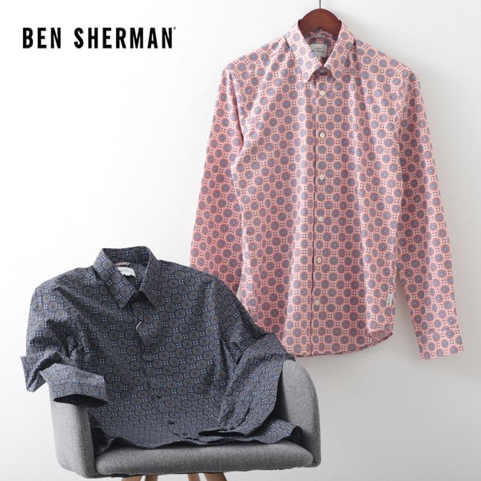ベンシャーマン メンズ 長袖シャツ 花柄シャツ フローラル デジ Ben Sherman 2色 ダークネイビー ピーチ スリムフィット