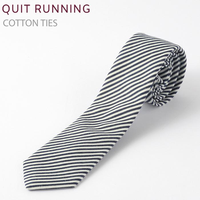 コットンネクタイ Quit Running ホワイト デニム ストライプ ネクタイ ハンドメイド クイトランニング メンズ コットン
