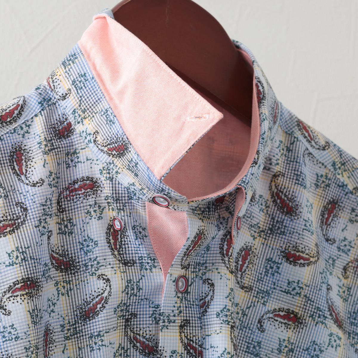 Gabicci メンズ 半袖シャツ ペイズリー チェック ガビッチ コロン レトロ モッズファッション