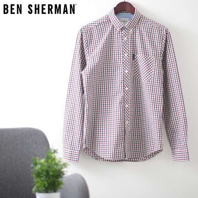 ベンシャーマン メンズ 長袖シャツ ハウスチェック シグネチャー Ben Sherman レッド レギュラーフィット
