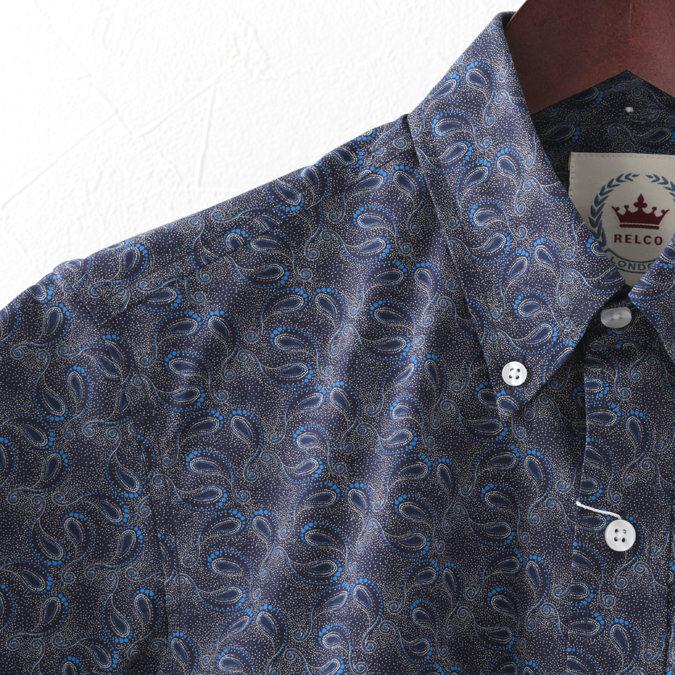 RELCO メンズ 半袖シャツ ペイズリー レルコ レトロ ネイビー モッズファッション