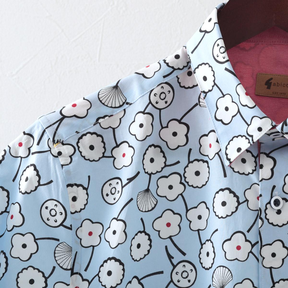 Gabicci メンズ 半袖シャツ フローラル ガビッチ シェード レトロ モッズファッション