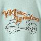 Tシャツ タオル地ロゴ+スクータープリント 2色 ダークブラウン シーグリーン メンズ Merc London メルクロンドン