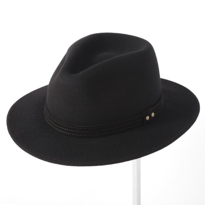 Laird Hatters メンズ フェドラハット 英国製 ウールハット フェルトハット レアードハッター Hunter Fedora 帽子 イギリス製 ブラック レディース モッズファッション 紳士